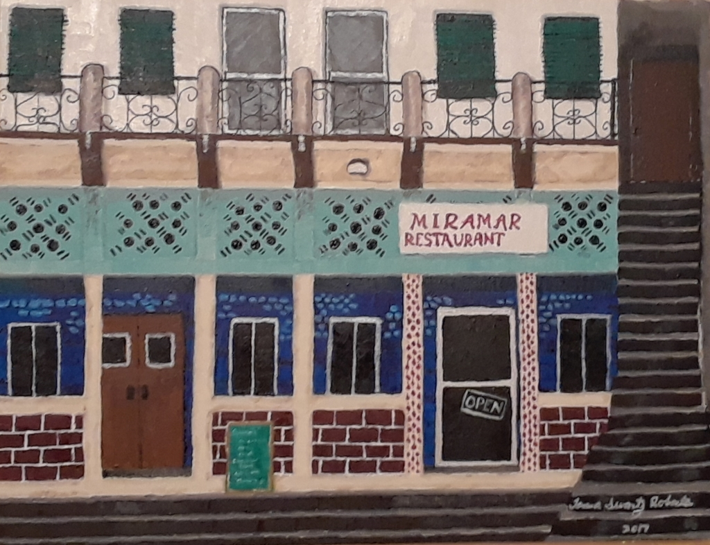 Amateur acrylic painting of the front of the Miramar Restaurant in Punta Gorda, Belize