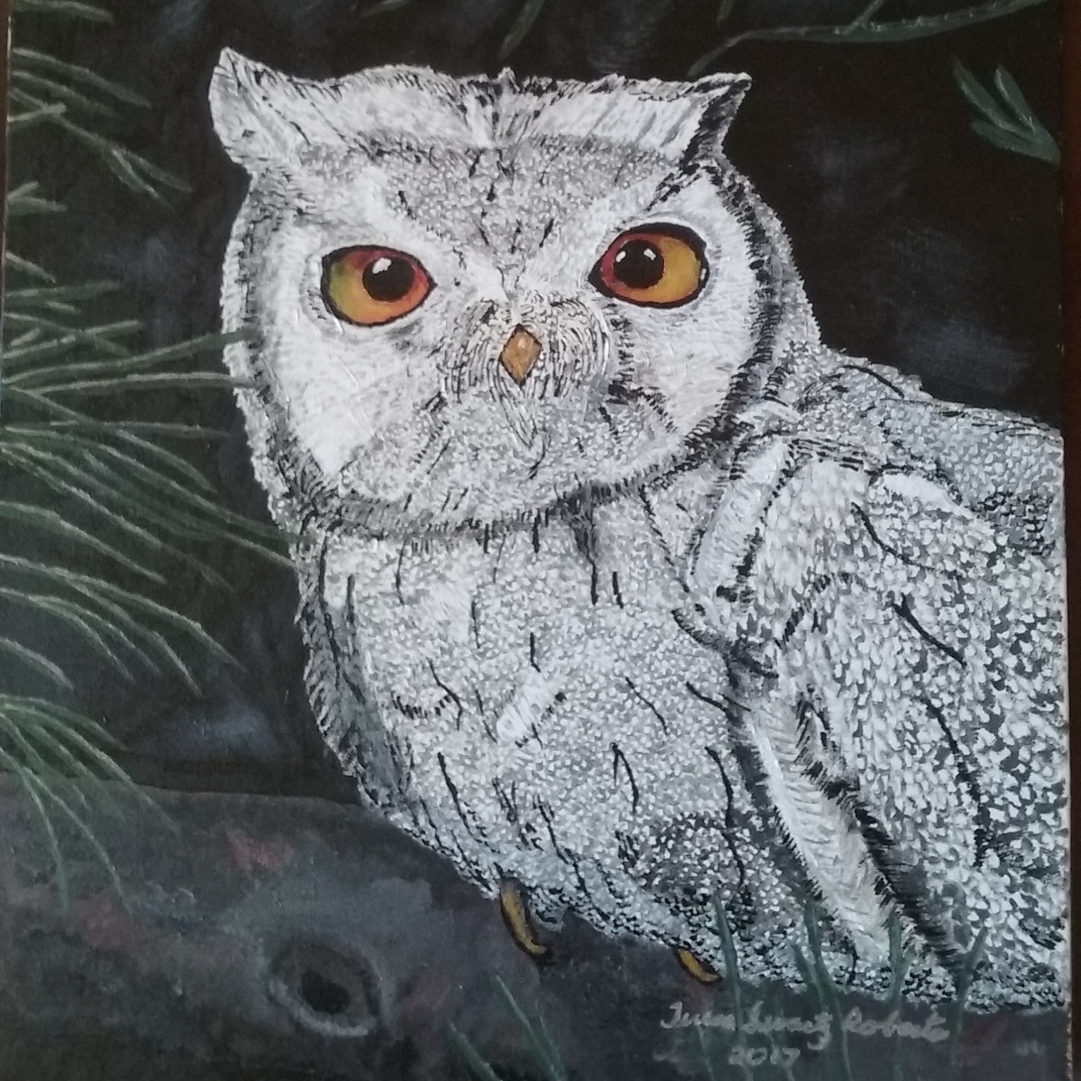 My painting of an owl resembles my wide-awake night eyes.