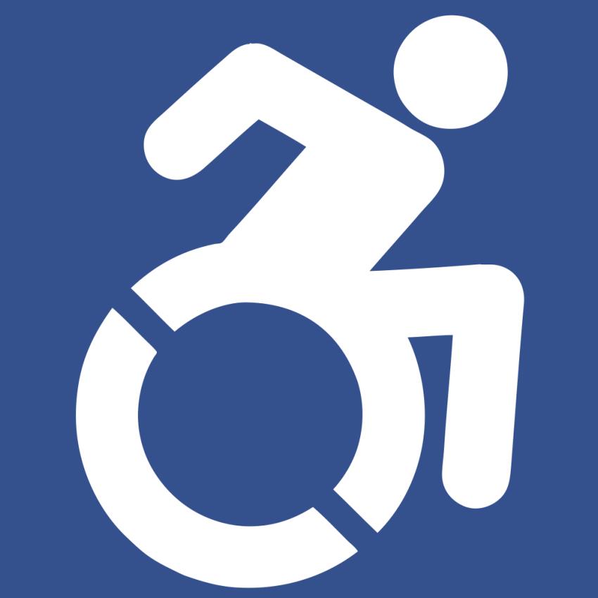 Alternative wheelchair user icon illustrates activity in disability