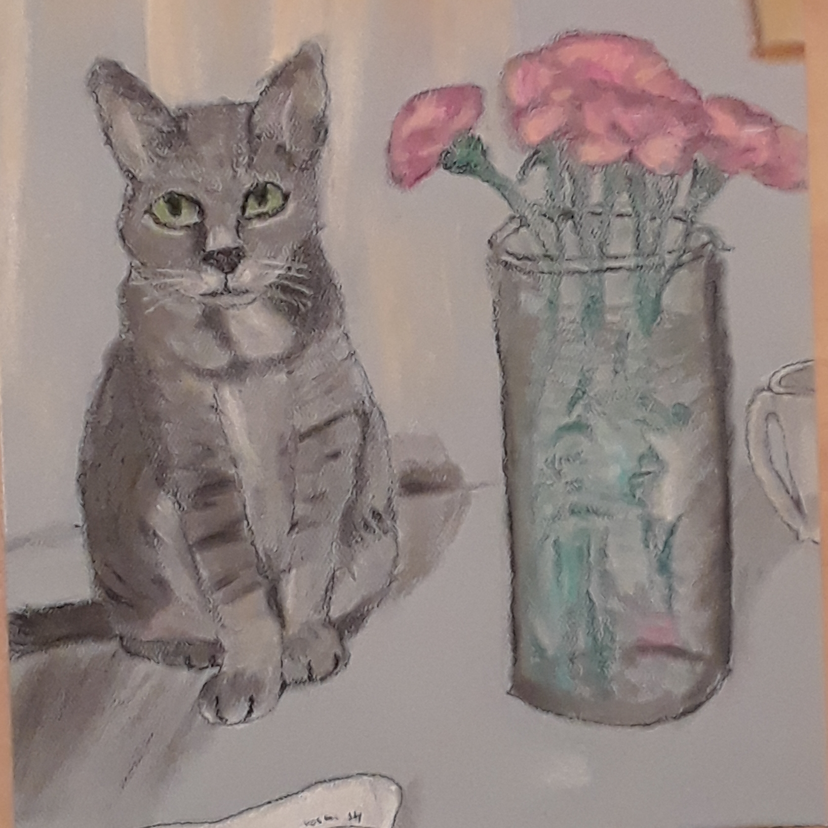 A chalk pastel cat illustrates the secret visitors seen in a pharmaceutical commercial.