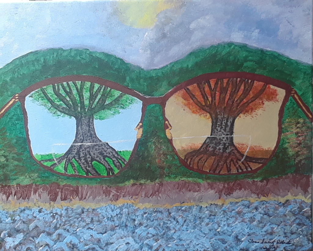 Acrylic painting shows two views through one pair of glasses: a tree in summer and a tree in winter.